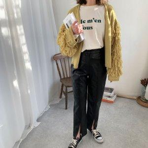 画像1: eco leather  pants